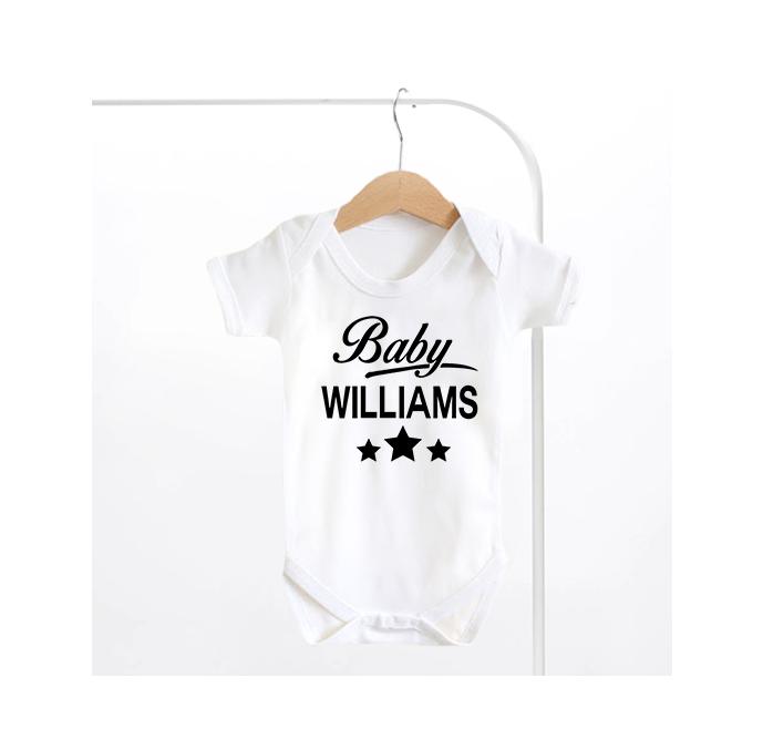 Surname Stars Baby Grow