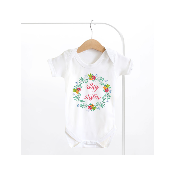 Big Sister Floral Wreath Baby Grow