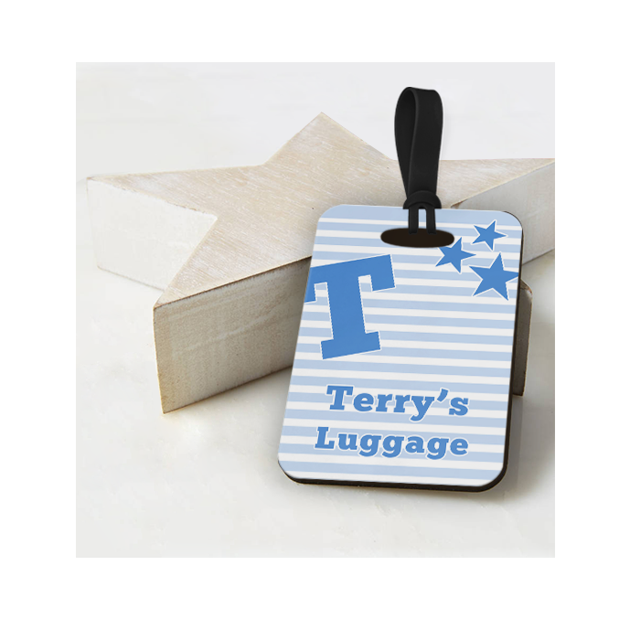 Personalised Blue Stripes Luggage Tag