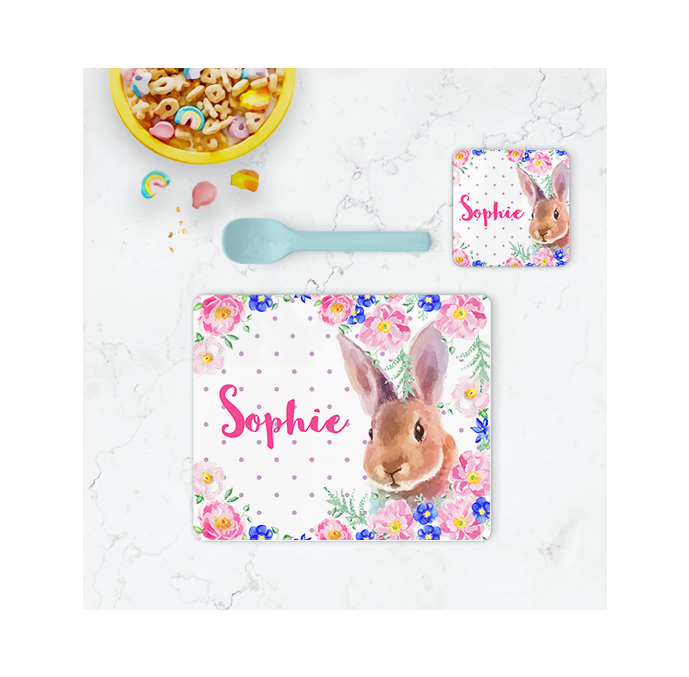 Personalised Bunny Placemat & Coaster