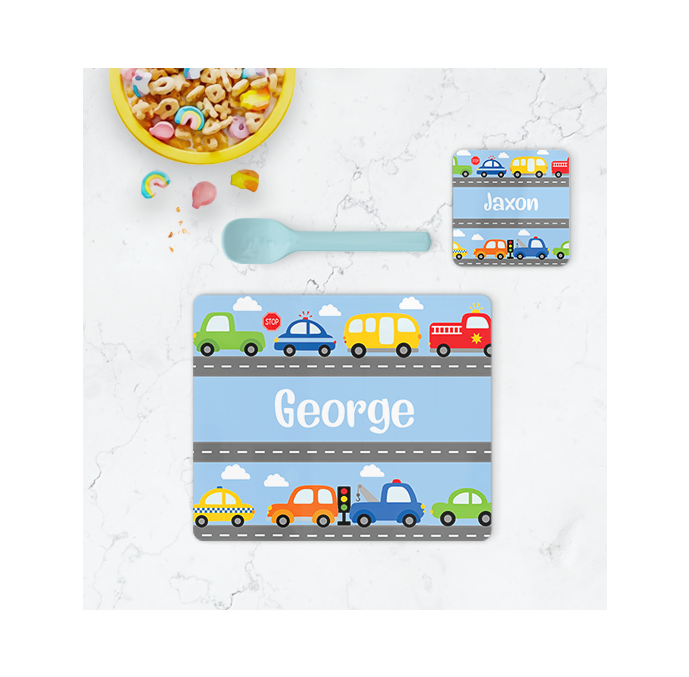 Personalised Cars Placemat & Coaster