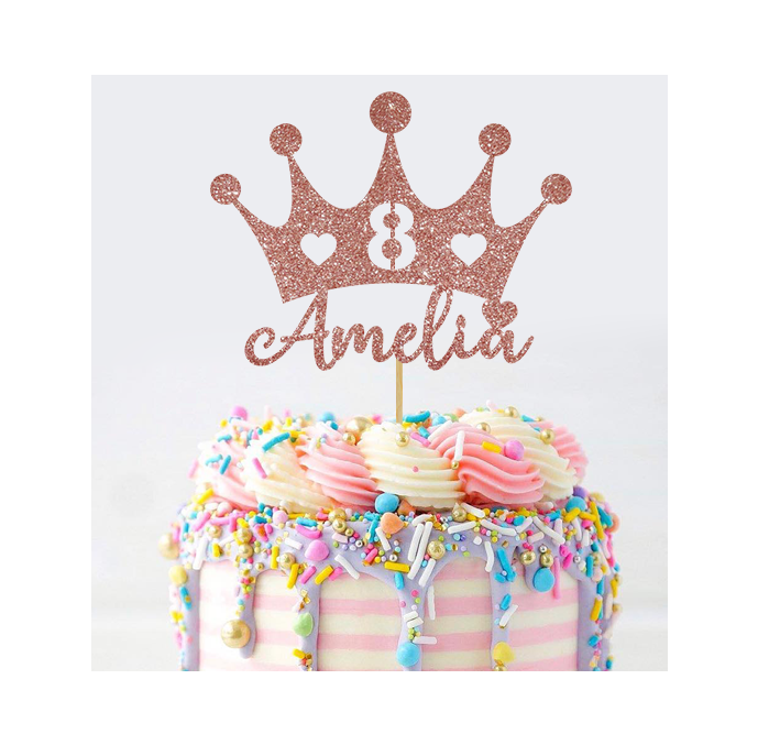 Personalised Princess Crown Cake Topper