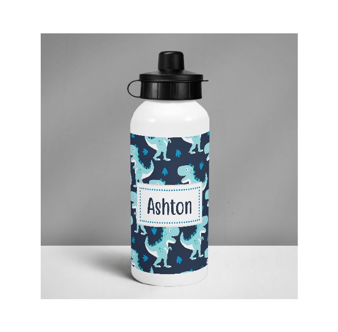 Personalised Blue Dinosaur Drinks Bottle