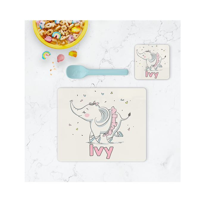 Personalised Elephant Placemat & Coaster