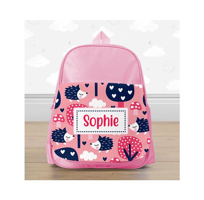 Personalised Pink Hedgehog Mini Backpack