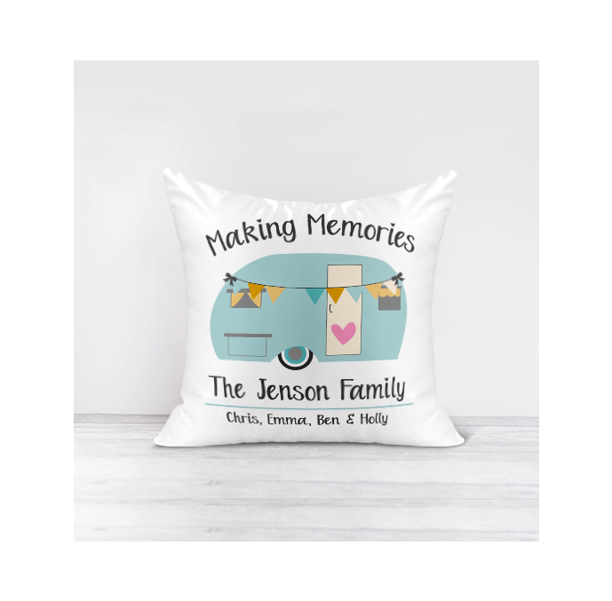 Personalised Making Memories Caravan Cushion