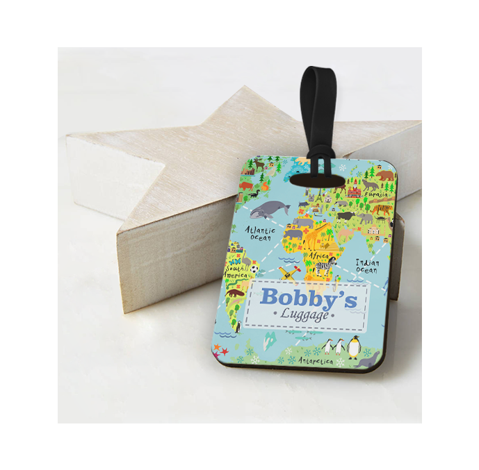 Personalised World Map Luggage Tag