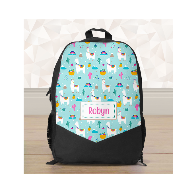 Personalised Colourful Llama Backpack