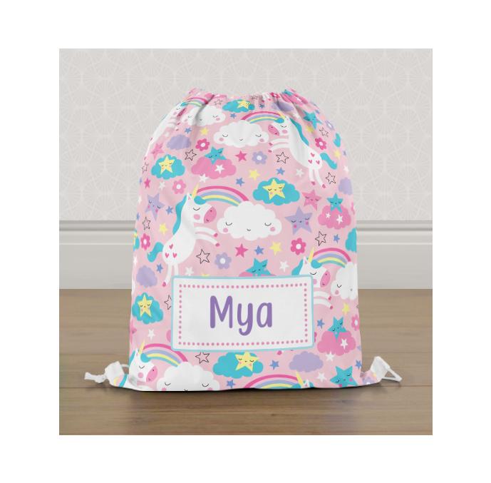 Personalised Colourful Unicorn Gym Bag
