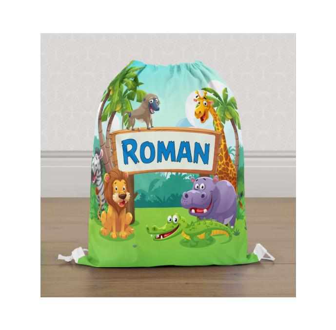 Personalised Safari Animals Gym Bag