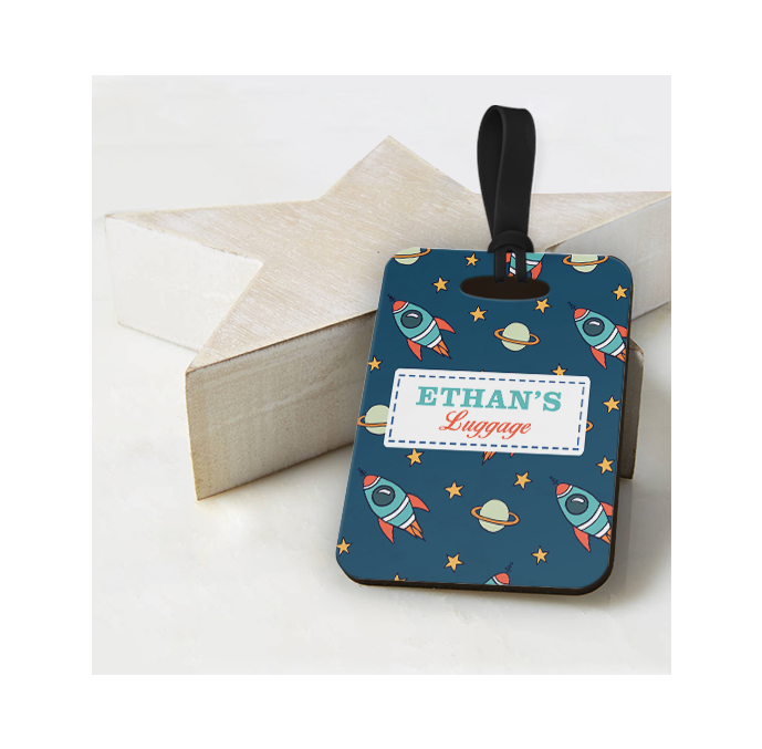Personalised Space Rockets Luggage Tag