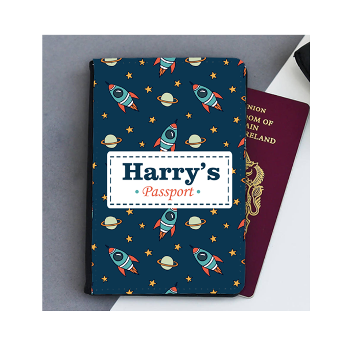 Personalised Space Rockets Passport Cover