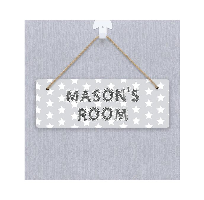 Personalised Grey Stars Door Hanger