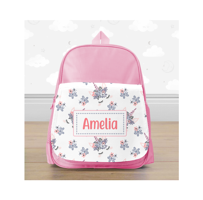Personalised Pink Unicorn Heads Mini Backpack