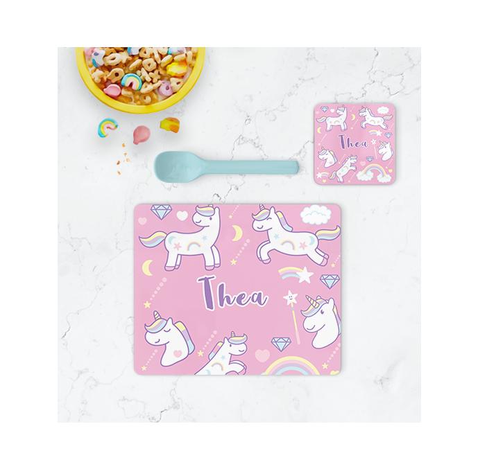 Personalised Unicorn Placemat & Coaster