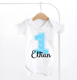 Personalised First Birthday Blue Number 1 Baby Grow