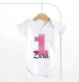 Personalised First Birthday Pink Number 1 Baby Grow