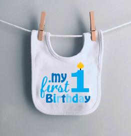My First 1st Birthday Boys Candle Baby Bib
