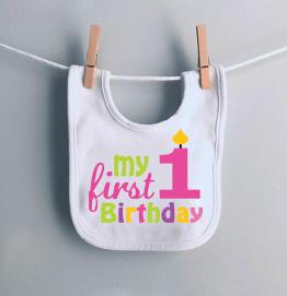 My First 1st Birthday Girls Candle Baby Bib