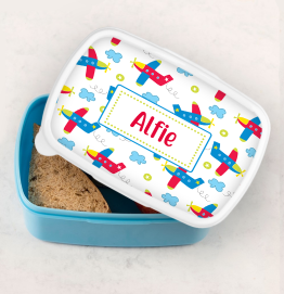 Personalised Grey Stars Lunch Box
