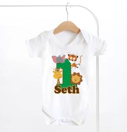 Personalised Safari Animals Number 1 Birthday Baby Grow
