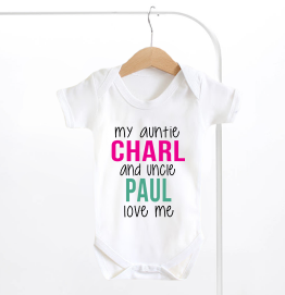 Personalised My Auntie and Uncle Love me Baby Grow