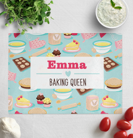 Personalised Baking Queen Glass Chopping Board