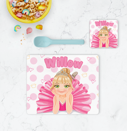 Personalised Ballerina Placemat & Coaster