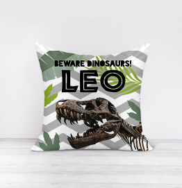 Personalised Beware Dinosaurs Cushion