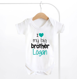 Personalised I Love My Big Brother Baby Grow