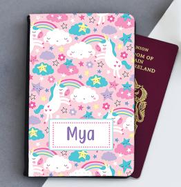 Personalised Colourful Unicorn Passport Cover