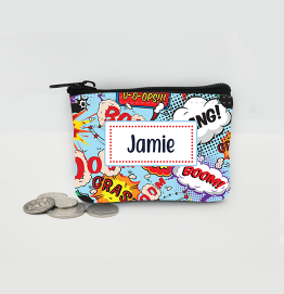 Personalised Superhero Comic Coin Purse