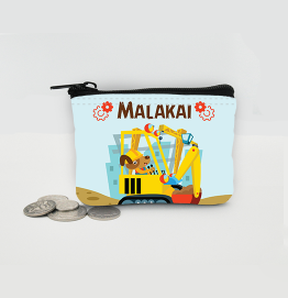 Personalised Construction Digger Coin Purse