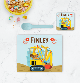 Personalised Construction Placemat & Coaster
