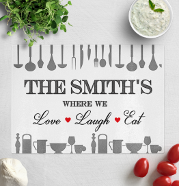 Personalised Where We Love Laugh Eat Chopping Board