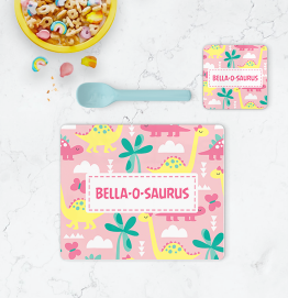 Personalised Pink Dinosaur Placemat & Coaster