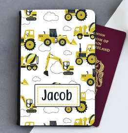 Personalised Digger Construction Passport Cover