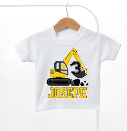 Personalised Digger Construction Birthday Kids T-Shirt