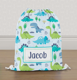 Personalised Colourful Dinosaur Gym Bag