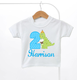 Personalised Dinosaur Birthday Kids T-Shirt