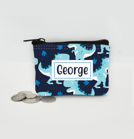 Personalised Dinosaur Blue Coin Purse