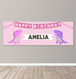 Personalised Girls Dinosaur Birthday Banner