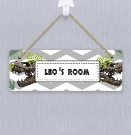 Personalised Dinosaur Beware Door Hanger