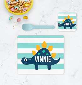 Personalised Dinosaur Stripe Placemat & Coaster