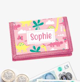 Personalised Dinosaur Pinks Money Wallet
