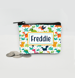 Personalised Dinosaur Colourful Coin Purse