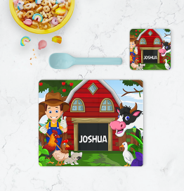 Personalised Farm Placemat & Coaster