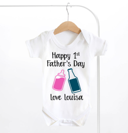 Personalised Happy First Fathers Day Bottles Baby Grow