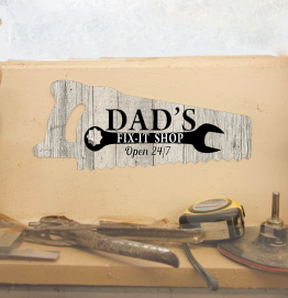 Personalised Dad's Fix it Shop Saw Shed Sign