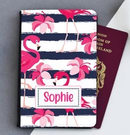Personalised Flamingo Stripes Passport Cover